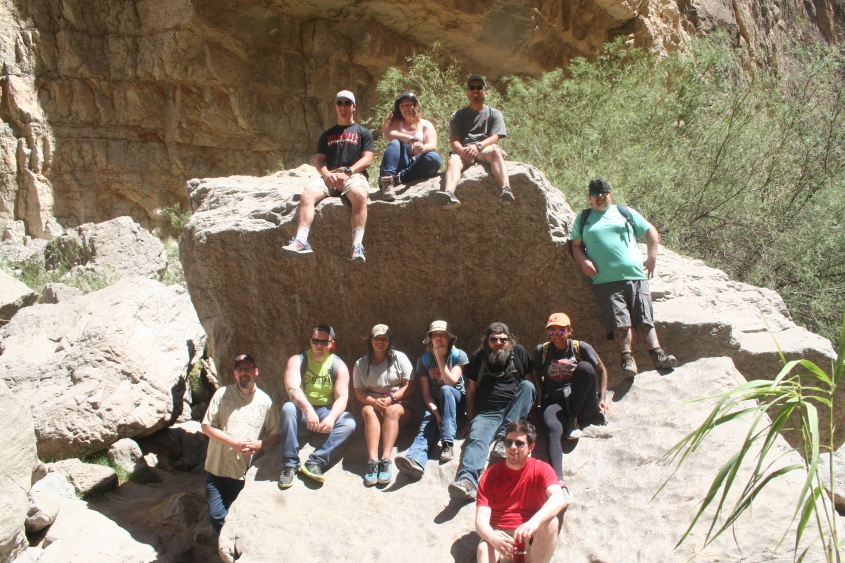 geology trip geology club group photo on boulder in big bend canyon