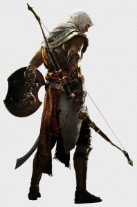 Bayek from the back cutout